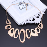 Collier Femme Hollow Geometric Matte Alloy Punk Choker Statement Necklace - socialblingz