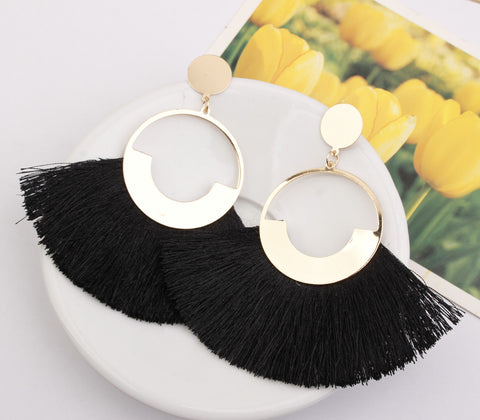 Boho Big Pompom Gold Drop Fringed Earring - socialblingz