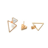 Twisted Irregular Round Triangle Matte Metal Mini Stud Earrings