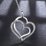 Double Heart CZ Pendant Necklace - socialblingz