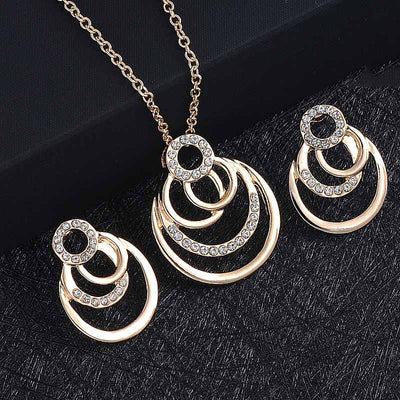 Geometric circle Rock Punk Stud Jewelry Set - socialblingz