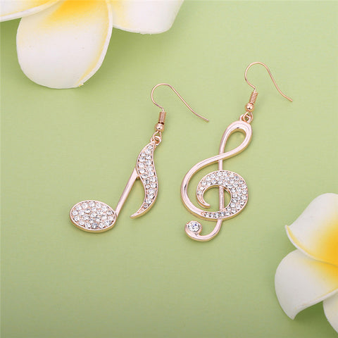 Music Notes Crystal Earrings
