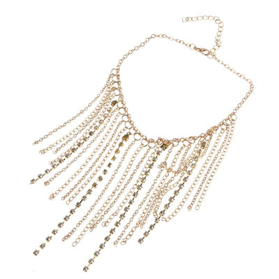 Chunky Long Tassel Crystal Chain Choker Necklace - socialblingz