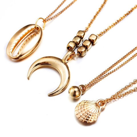 Bohemian Beach Shell, Cowrie, Moon & Metal Ball Charm Multilayer Chain Necklace - socialblingz