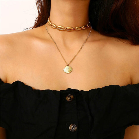 Bohemian Two-Layer Ocean Seashell Beach Pendant Choker Necklace - socialblingz