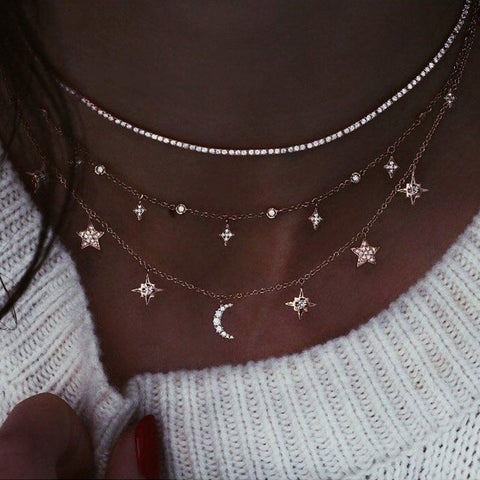 Moon Pentagram Pendant Clavicle Chain Gothic Multi-layer Necklace