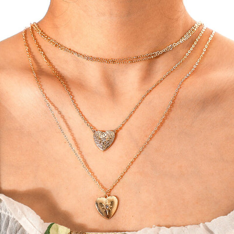 Vintage Double Heart Crystal Choker Necklace - socialblingz