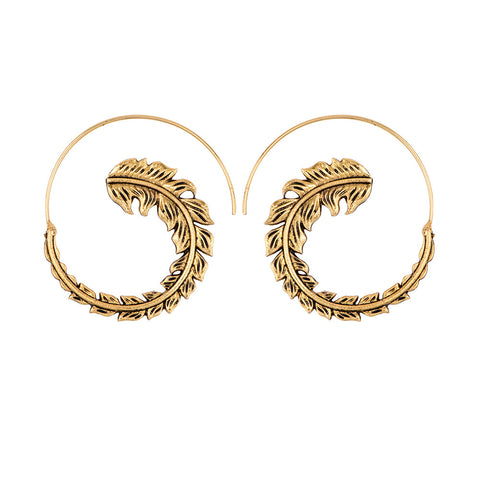 Spiral Modern Vintage Golden Silver Feather Danglers - socialblingz