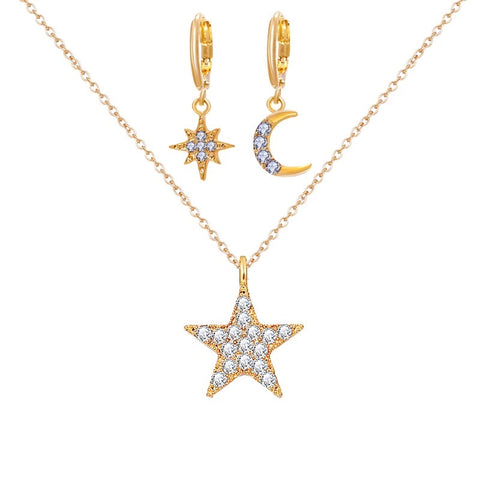 Vintage Star Moon Statement Jewelry Set - socialblingz