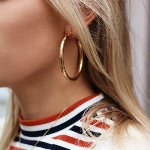 Thick Round Metal Hoop Earrings