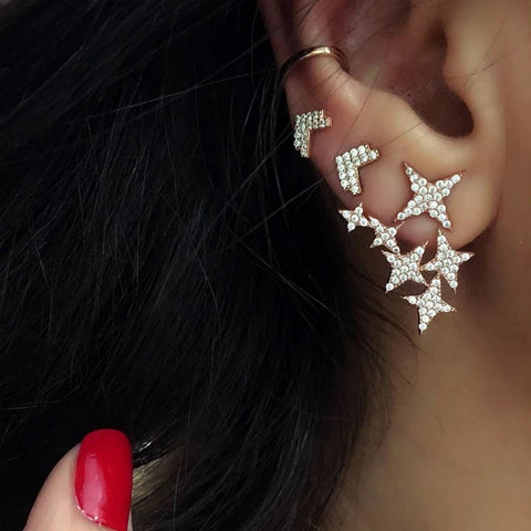 Crystals Star Stud Ear Cuff Set