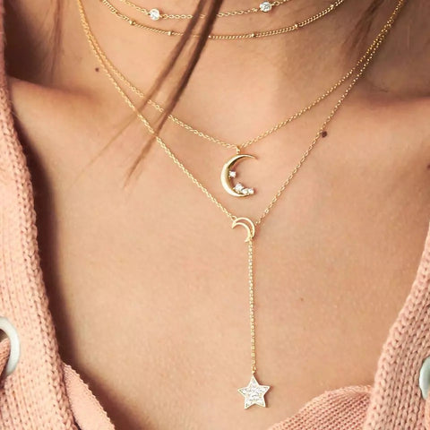 Moon Five Pointed Star Multi-layer Combination Statement Necklace