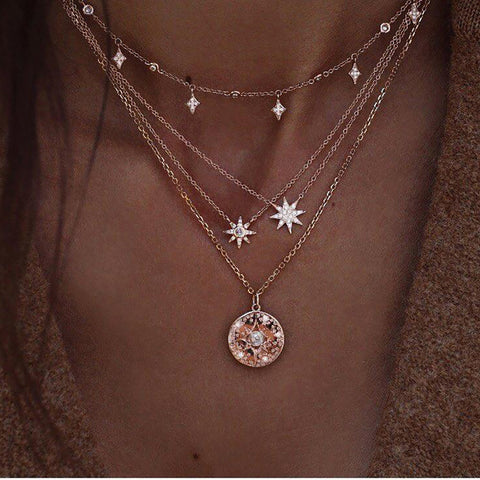 Multi-Layer Long Moon & Double Star Pendant Necklace