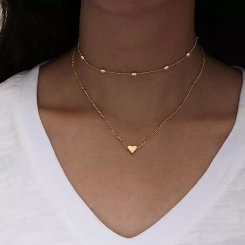 Simple Heart Multi-Layer Clavicle Choker Necklace