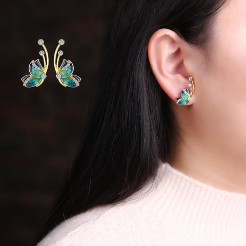 Butterfly Studs With Antenna Earrings