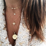 Multi-layer Star & Coin Pendant Statement Necklace
