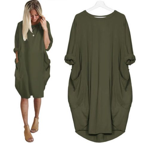Loose Solid Round Neck Dress - socialblingz