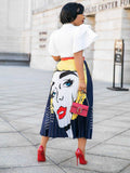 Funny Printed Pleated Maxi Skirt - socialblingz