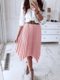 Solid Swallowtail Hem Pleated Skirt - socialblingz