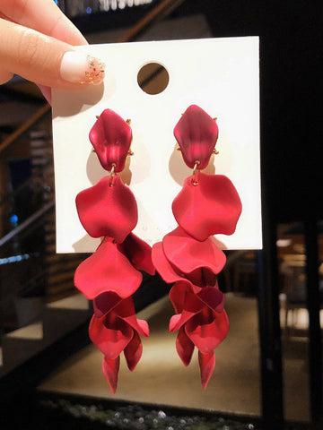 Chic Red Petal Drop Earrings