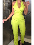 Halter Backless Solid Sleeveless Casual Jumpsuit