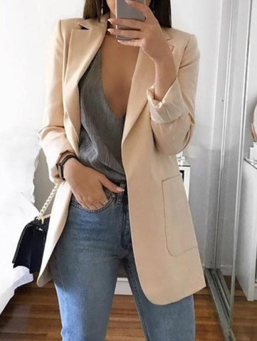 Lapel Collar Solid Long Blazer