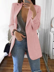 Lapel Collar Solid Long Blazer - socialblingz