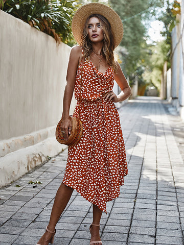 Fashion V Neck Dots Print Sleeveless Summer Dress