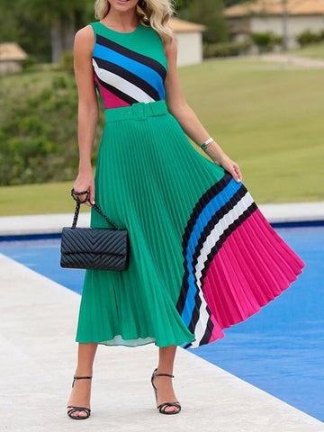 Striped Sleeveless Pleated Plus Size Maxi Dress