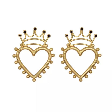 Hollow Heart With Crown Earrings