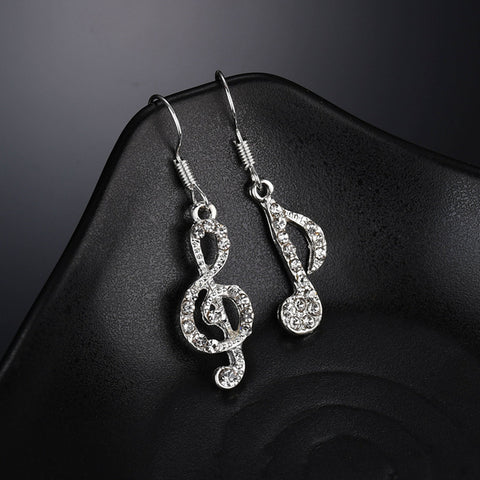 Musical Note Asymmetrical Earrings - socialblingz