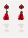 Vintage Style Round Patchwork Tassels Earrings