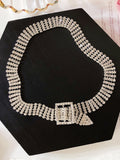 Four-Row Rhinestone Necklace - socialblingz
