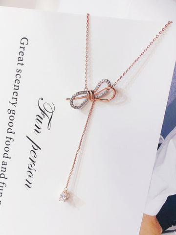 Bow Rhinestone Necklace - socialblingz