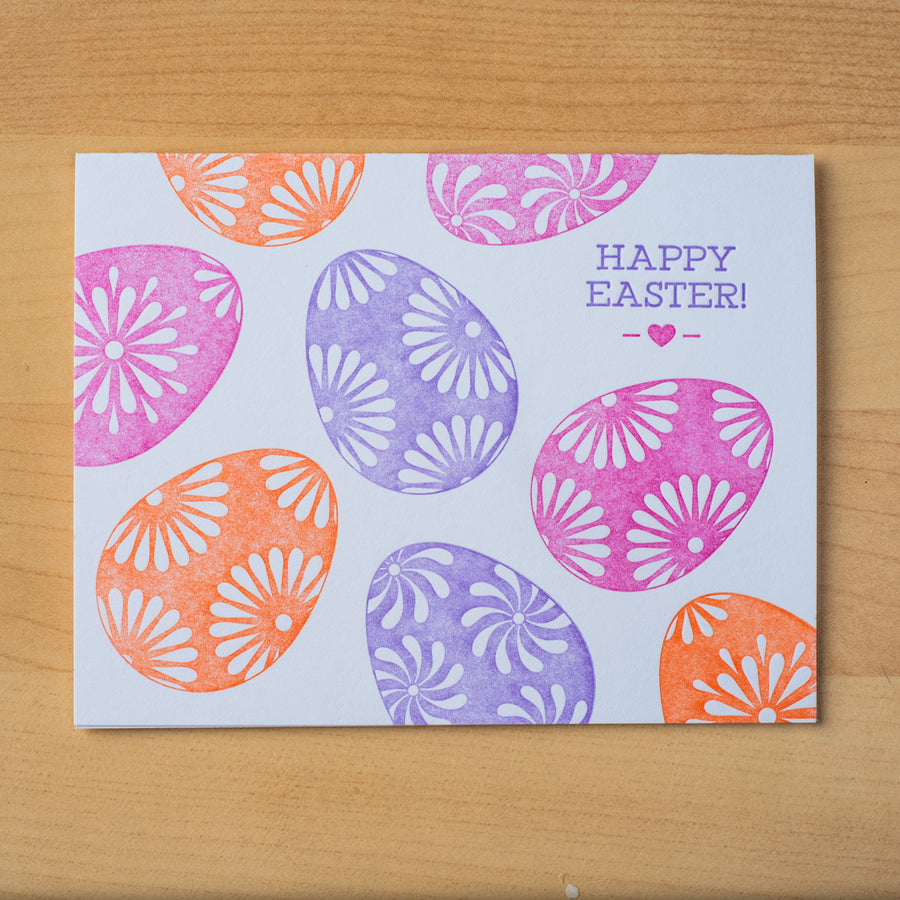 Letterpress Easter greeting card with colorful eggs