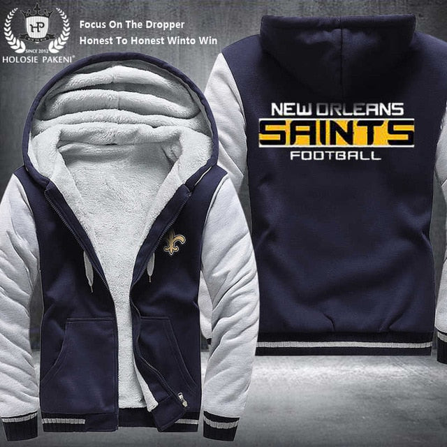 New Orleans Saints Winter Thicken Fleece Hoodie Zipper Sweatshirt Jacket Costume Tracksuit made