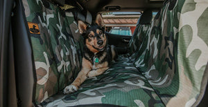 K9 Ballistics German shepherd on green camo seat cover