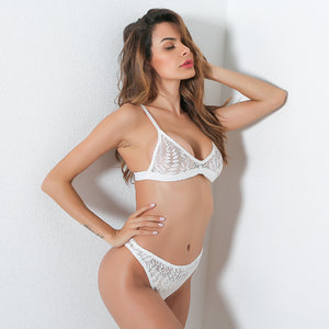 Hollow Out Mesh Bra & Panty Set - White