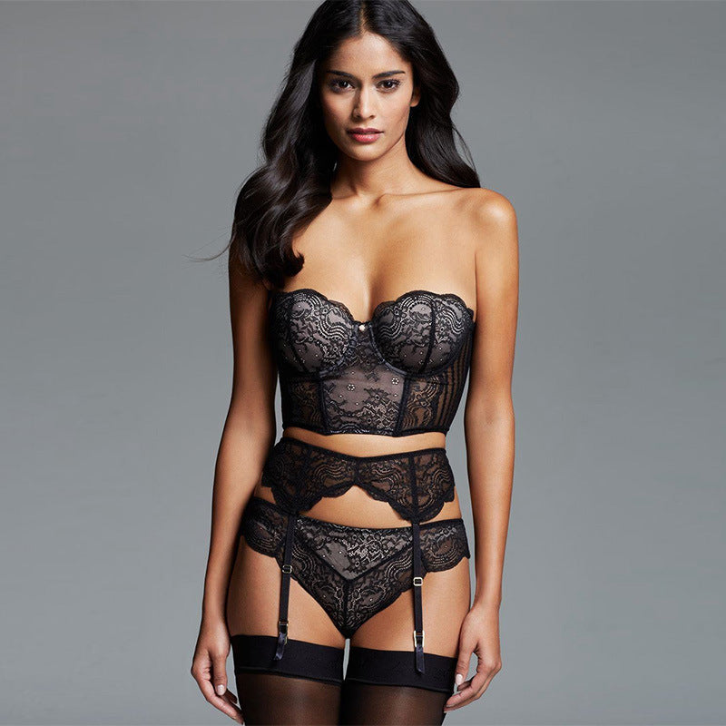 Lace Corset With Garter Belt & Panty Set