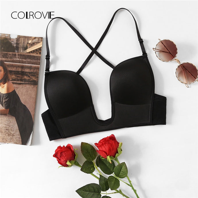 Black Plain Cross Back U Plunge Bra