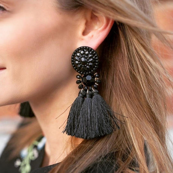 Women Vintage ethnic tassel Drop earrings