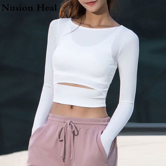 Long Sleeve Fitness Yoga Crop Tops