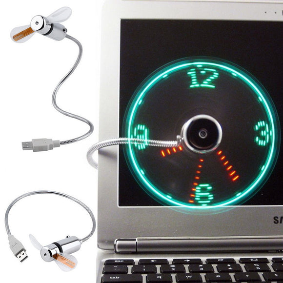 Mini USB Fan With LED Clock Real Time Display