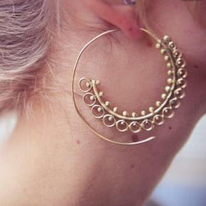 Bohemian Round Spiral Gold Silver Drop Earrings