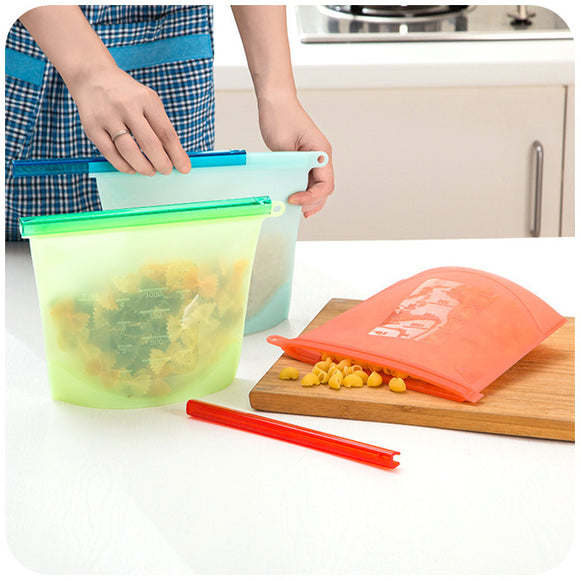 Reusable Silicone Fresh Food Colored Storage Ziplock Bags