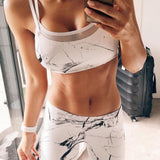 White Patchwork Design Fitness 2 Pieces Yoga Set