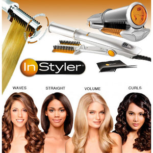 2IN1 Rotating Iron Hair Curler Straightener Brush