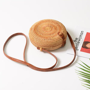 Handmade Rattan Woven Round And Square Crossbody Bag