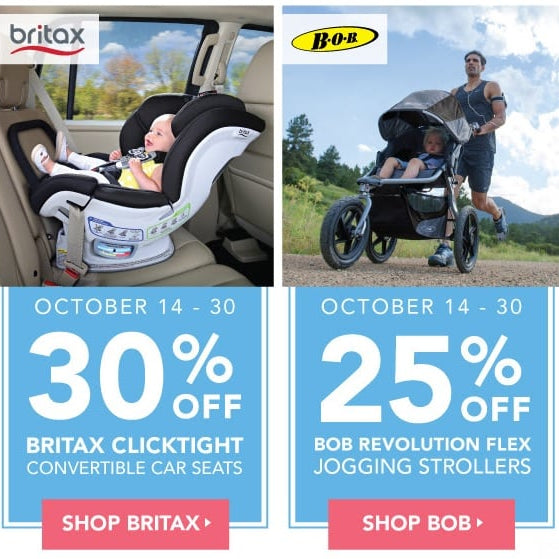BOB Strollers & Britax car seats on sale October 14-30!