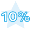 "Blue text that reads ""10%"" superimposed in front of a blue star"